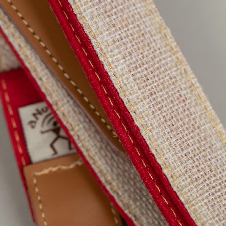 aNueNue Bird Skinny Strap (Natural Linen/ Red)