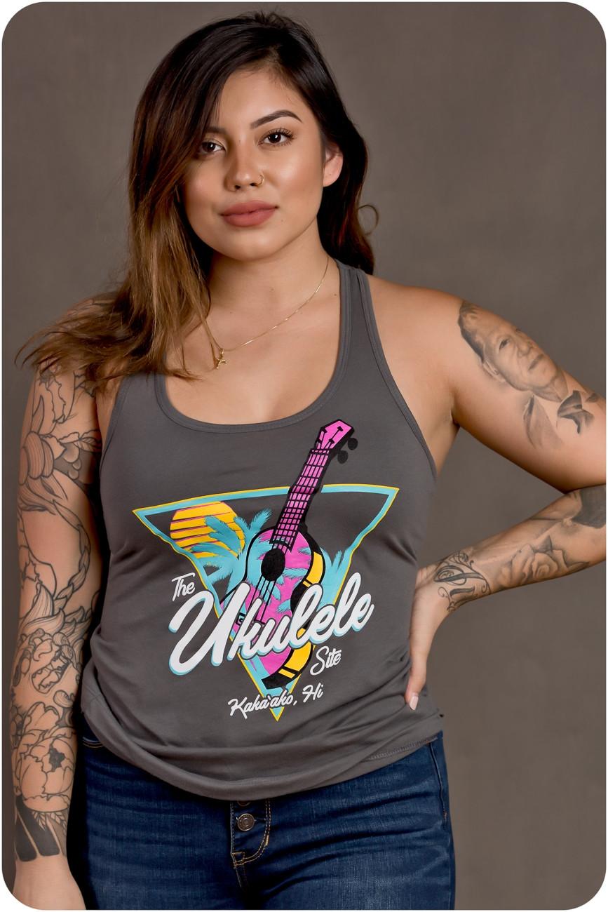 The Ukulele Site Womens Tank Neon Grey