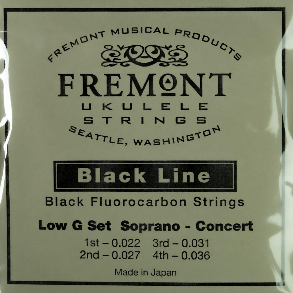 Fremont Ukulele Strings - Black Line Low G Set Soprano - Concert Set