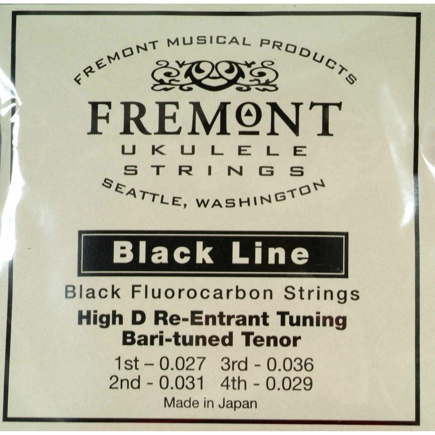 Fremont Blackline Fluorocarbon Ukulele Strings Bari Tuned Tenor High D Set